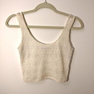 FOREVER 21 Ivory/Cream lace crop top